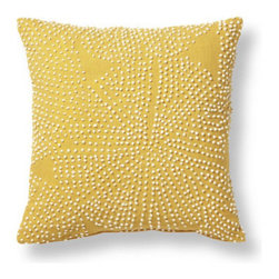 Grandin Road - Luli Sanchez French Knot Throw Pillow - Designer Luli Sanchez toss pillow with French Knot embellishments. Yellow ground is adorned with cream knots. Cotton cover is easily removed via a hidden zipper. Generously filled polyester insert included. Spot clean. Like a welcome ray of sunshine, our Luli Sanchez French Knot Throw Pillow brightens up any room from the very first moment it arrives. Not to mention the additional comfort it provides to one of your favorite chairs or sofas. Generously sized designer toss pillow is artfully adorned with an all-over pinpoint design of French Knots.  .  .  .  .  . Pillow inserts are vacuum packed to minimize shipping costs – simply fluff to restore shape . Imported.