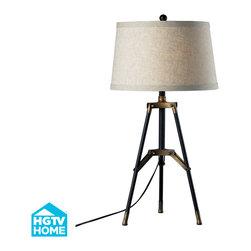 Dimond Lighting - Vergato 1-Light Table Lamp in Restoration Black and Aged Gold - Dimond Lighting HGTV309 Vergato 1-Light Table Lamp in Restoration Black and Aged Gold