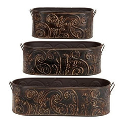 "Benzara - Set of 3 Embossed Stainless Steel Steeled Motif Metal Planters Set - Set of 3 Embossed Motiff metal planters set. This Set of three floor planters are done in cold cast solid metal with Embossed motiff artwork. Dimensions - Large 18""W x 14""H, Medium 14""W x 10""H and small 10""W x 8""H."