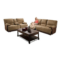 Catnapper - Catnapper Clayton Reclining 3 Piece Sofa Set in Camel and Chocolate - Catnapper - Sofa Sets - 134Clayton3PKG