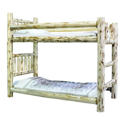 Montana Woodworks - Montana Woodworks Homestead Bunk Bed in Lacquered - Twin over Full - From Montana Woodworks, the largest manufacturer of handcrafted quality log furnishings in America comes the all new Homestead Collection line of furniture products. Handcrafted in the mountains of Montana using solid, American grown wood, the artisans rough saw all the timbers and accessory trim pieces for a look uniquely reminiscent of the timber-framed homes once found on the American frontier. The Homestead bunk bed by Montana Woodworks is a classic of design and build. Skilled craftsmen patiently craft and hand assemble each sub assembly ensuring the bed will last a lifetime. Some assembly required. 20-year limited warranty included at no additional charge.