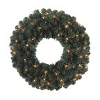 """Seasonal Source - 24"""" Pre-Lit Oregon Fir Wreath, 35 Clear Lights - Our 24"""" diameter commercial quality holiday wreath is full and luxurious. Each wreath is pre-decorated with 35 Incandescent Mini-Lights."""