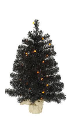"""Vickerman - Black Pine Tree G12 30LED Orange (30"""") - 30"""" Black  Tree  96 PVC Tips, 30 Orange G12 LED Lights,  Burlap Base"""