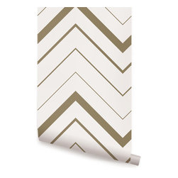 Chevron Bold Gold - Chevron Bold peel & stick fabric wallpaper. This re-positionable wallpaper is designed and made in our studios in New Jersey. The designs are printed onto an adhesive backed fabric that can be removed, repositioned and reused over and over again. They do not leave any residue on your walls and are ideal for DIY room makeovers without the mess and headaches of traditional wallpaper.