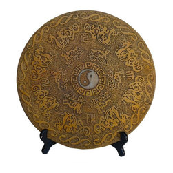 Golden Lotus - Chinese Stone Carved Dragon Horse Round Display - This stone display is relief carved with ancient Chinese dragon, horse carts, yin yun pattern on the surface. A rustic matt yellow color is stained to create an oriental feel.