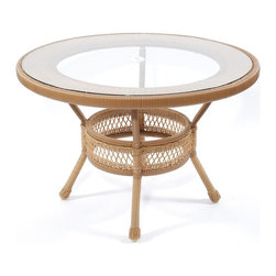 Trade Wind Treasures - Lake Living Outdoor Dining Table - Includes inset tempered glass top with umbrella hole. All weather. Welded aluminum frame. Covered in hand woven extruded vinyl. Table: 44 in. Dia. x 30 in. H. Glass: 42 in. Dia.. Base: 17 lbs.. Top: 48 lbs.. Warranty