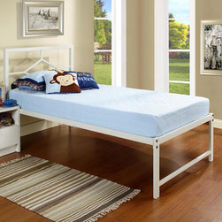 None - K&B B89-1-2 White Metal Twin-size Day Bed - Ideal for use in a teenagers room or dorm room,this elegant white day bed offers simple lines that will match a variety of modern furnishings,and the bed has metal slats to hold your mattresses securely in place. The bed comes ready-to-assemble.