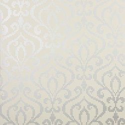 Brewster Home Fashions - Venus Pewter Metallic Mini Damask Wallpaper Swatch - With a radiant pewter silver ink and a modern global arrangement this mosaic style damask wallpaper is sophisticated and chic.