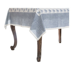 Origin Crafts - Serengeti blue tablecloth - Serengeti Blue Tablecloth 100% Cotton, block printed. Machine wash, tumble dry low, warm iron as needed. Made in India. Dimensions (in): Square - 55x55 - Seats 2?4 Rectangle - 60x90 - Seats 4?6 Rectangle - 60x120 - Seats 8?10 By Pomegranate Inc. - Pomegranate's vivid prints and wonderfully