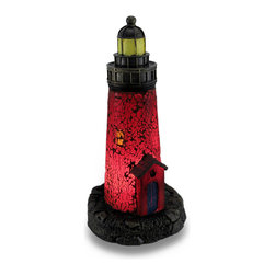 Zeckos - Crackled Glass Red Light House Accent Lamp Night Light Lamp - This red light house lamp adds a finishing touch to any room with a nautical or beach theme, or the home of a light house collector! Hundreds of crackled glass pieces create the body of this light house lamp that creates a soft glowing red light that's housed in a cast resin base with an antique bronze finish, and looks great used as a night light in an entryway, dark hallway or even the bath. It's great for the desk or a shelf at the office at 12 inches high and 6 inches in diameter (30 X 15 cm). It easily turns on or off via the rocker switch on the 67 inch long black cord, and it uses one 7 Watt (max) Type T bulb (included). It's amazing as a gift for a light house lover sure to be admired!