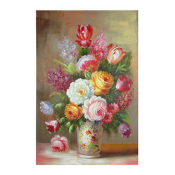 Oriental Furniture - Hand Painted Floral Bouquet Still Life - The bouquet featured on this hand-painted canvas is bursting with colorful peonies, gladiolus and chrysanthemum. The arrangement is anchored by an equally colorful vase. A piece of art work like this is the perfect gift alternative to a live bouquet arrangement at a comparable price.