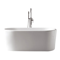 Virtu USA - Virtu USA 67x27.5 Inch Serenity Freestanding Soaking Tub w/ Center Drain - The Serenity Collection soaking tubs introduces a peaceful tranquility in modern design. Where elegance meets ergonomics, the Serenity Collection is visually mesmerizing and comfortable. Soft curves in transition with sleek edges highlight the contemporary concept. The beauty of the tub reveals a focal point centerpiece of an artful bathroom. Virtu USA uses the finest selection of raw materials to ensure the highest quality product. With a busy lifestyle, it's important to relax, unwind and indulge yourself in the experience of pleasure and harmony through Serenity.