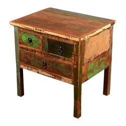 """Sierra Living Concepts - Rustic 3 Drawer Reclaimed Wood End Table - Add rustic charm, extra storage, and a large 24"""" by 18"""" counter top to your bedroom, living room or study. This unique three drawer chest has long legs that create a fanciful element to the classic design. The night stand dresser has two small top drawers and one large bottom drawer."""