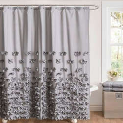 Triangle Home Fashions - Juliet Bow 72-Inch x 72-Inch Shower Curtain in Grey - This Juliet shower curtain adds a touch of sophistication and romance with the handcrafted flowers which decorate the silk charmeuse surface.