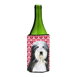 Caroline's Treasures - Bearded Collie Hearts Love Valentine's Day Portrait Wine Bottle Koozie Hugger - Bearded Collie Hearts Love and Valentine's Day Portrait Wine Bottle Koozie Hugger SS4497LITERK Fits 750 ml. wine or other beverage bottles. Fits 24 oz. cans or pint bottles. Great collapsible koozie for large cans of beer, Energy Drinks or large Iced Tea beverages. Great to keep track of your beverage and add a bit of flair to a gathering. Wash the hugger in your washing machine. Design will not come off.