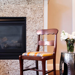 Christa Pirl Furniture In Situ - Cornelia Side Chair by Christa Pirl Furniture in situ.  Newly upholstered vintage Federal style chair sitting quietly by the fire.  Photo by Melissa McCafferty.