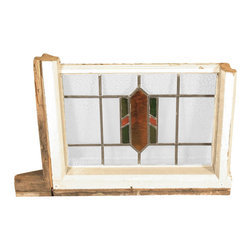 Antiques - Antique English Lead Glazed Stained Glass Window - Country of Origin: England Circa: 1905 Wood Frame Lead Glazed Glass Stained Glass Traditional DesignThis is a beautiful antique English lead glazed stained glass window. It has a traditional wooden frame and it features a beautiful *astragal lead glazed textured stained glass window with a distinguished design. This piece may show minor age appropriate signs of wear including wood imperfectionsbut as shown it is overall in very good cosmetic and structural condition.What is astragal (wood or lead) glazing?  As it pertains to later period furniture, it is a method of securing glass to the straight, semi-circular, or shaped moldings found on glass doors and windows of furniture. On newer reproduction furniture, the astragal molding may set atop the glass to give the appearance of glazing where on older English furniture, it is not uncommon for each piece of glass to be cut to shape and glazed into the molding.Other Dimensions (In inches)Glass 13.25H x 20WFrame 2W