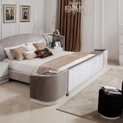 Made in Italy Leather Luxury Elite Bedroom Furniture feat. Velvet Upholstery - Velvet pile and high quality materials unique design bedroom set. Modern Bedroom features unique, transitional and modern furniture that you won't find anywhere else.