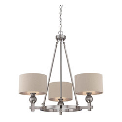 Quoizel - Quoizel CKMO5003BN Metro 3 Light Chandeliers in Brushed Nickel - This 3 light Chandelier from the Metro collection by Quoizel will enhance your home with a perfect mix of form and function. The features include a Brushed Nickel finish applied by experts. This item qualifies for free shipping!