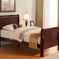 "Alpine Furniture - Louis Philippe II Twin Size Sleigh Bed - Louis Philippe II Twin Size Sleigh Bed; Cherry Finish; Materials: Rubberwood Solids And Poplar Veneer; Box Spring Required; Country of Origin: Vietnam; Dimensions: 84.75""L x 41.25""W x 46.75""H"