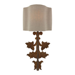 Kathy Kuo Home - Pair French Country Gold Leaf Stenciled Number Wall Sconce Set - A match to our Prato décor piece, the Prato wall sconce set has an aged gold leaf finish.  As part of our seasonal shade program, this sconce comes with two shades. Each set is in dark linen, with one set hand stenciled with unique numbering.  Four shades will be shipped with each set.  Price marked is for a pair.