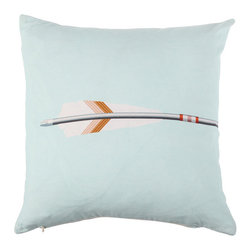 Modern 100% Cotton Light Teal Pillow Cover - This pillow cover features a clever reversible design. On its front, you'll find the tail feathers of an archery arrow, while the reverse suggests the arrow's point. Complete the picture by placing two cushions side by side, in either a matching or coordinating color scheme.