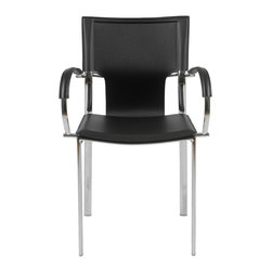 Euro Style - Euro Style Vinnie Arm Chair Set of 2 17211BLK - Leather might be at the top of your list and the Vinnie collection delivers. The clever uniqueness of these chairs is in the slim, cutaway leather on the seat back. It's a pleasing shape for a very popular grouping.