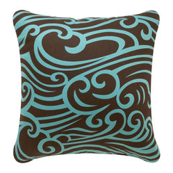 Wave Eco Pillow, Chocolate/Aqua, Without Insert