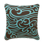 Wabisabi Green - Wave Eco Pillow, Chocolate/Aqua, Chocolate/Aqua, 18x18, Without Insert - Float on! This throw pillow combines great style with sensible sustainability: It's designed and hand-printed in America with environmentally safe inks.