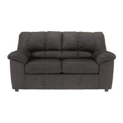 Signature by Ashley - Dominator Loveseat in Black Fabric - Contemporary Design. Plush Upholstered Arms. Black Fabric Upholstery. Bustle Back Cushions. Fixed Back. Loose Seat Cushions. CA117 Fire Retardant Foam. Black Bottom Dust Cover. Plastic Triblock Feet. Durable Frame Construction. Seat and Back Spring Rails cut from .875 in. Thick Hardwood. Corners are Glued, Blocked and Stapled. Upholstery pre-approved for wearability and durability against AHFA Standards. Cushion core constructed of low melt fiber wrapped over high quality foam. 100% Polyester. Spot clean with water based cleaner.