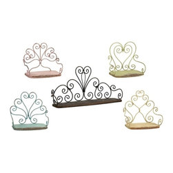 """IMAX - Annabelle Metal Chair Shelves - Set of 5 - This charming set of five metal """"chair"""" shelves feature antiqued finishes in a soft color palette. Great for a variety of decorative accents or as simple stand alone wall art. Item Dimensions: (22.75""""h x 7""""w x 11.25"""")"""