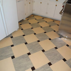 """Marmoleum Dual Tile Kitchen Floor - Kitchen remodel featuring Marmoleum Dual Tiles in White Marble 2607, Dove Grey 2621 and Black 2939. The Black tile was cut into 2.25"""" squares with a chop saw."""