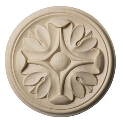 """Ekena Millwork - 4 1/4""""W x 4 1/4""""H x 1/2""""P Raymond Rosette, Maple - Our rosettes are the perfect accent pieces to cabinetry, furniture, fireplace mantels, ceilings, and more.  Each pattern is carefully crafted after traditional and historical designs.  Each piece is carefully carved and then sanded ready for your paint or stain.  They can install simply with traditional wood glues and finishing nails."""