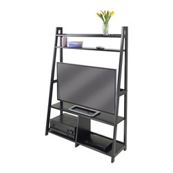 """Winsome Wood - Winsome Wood Adam TV Stand / A Frame with Shelves with Black Finish X-53402 - This stylish and contemporary Hardwood Espresso finish TV Stand features durable construction and rich finish.  Classic tiered ladder styling, along with display shelves.  Angled for precise corner placement.  elegant eye-catching.  Perfect for your home and suitable for all manner of decors. TV Stand is 40.94"""" x 12.99""""D x 58.03""""H in overall size and accommodate up to 42"""" Flat screen TV.  Inside width measured 39.37'.  TV stand shelf surface is 19.29""""W x 11.65""""D for TV.  Bottom shelf has a divider for DVD, Games or CD players with each section is 19.29""""W x 11.65""""D x 12'H.  Static weight of Main shelf is 80 Lbs.  TV Stand Top Shelf is 39.39""""W x 4.19""""D and 2nd Shelf is 39.37""""W x 5.12""""D.  Construction from combination of solid and composite wood in Black Finish.  Assembly Required."""