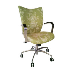 9 to 5 Seating - Custom Toile Office Chair - Bring more enjoyment to any desk job with this comfortable, custom-upholstered office chair. It's got chic toile fabric, well-curved arms and swivel/tilt motion to turn any task into a nicely done deal.