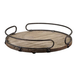 Acela Round Wine Tray - Natural Fir Wood Base With Aged Metal Details.