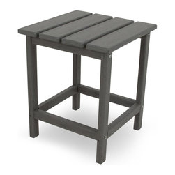 Polywood - Eco-friendly Side Table in Slate Gray - You cant very well sit back and relax without somewhere to set your iced tea. This side table is the perfect companion to the Long Island Adirondack as well as the dining and rocking chairs. It wont splinter, crack, chip, peel or rot and it never needs to be painted, stained or waterproofed. Polywood lumber requires no painting, staining, waterproofing, or similar maintenance. It is resistant to corrosive substances, insects, fungi, salt spray and other environmental stresses.