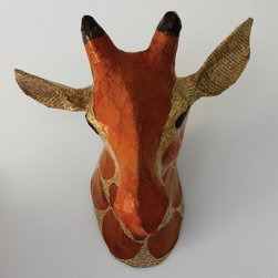 GIRAFFE NATURAL PAPIER-MÂCHÉ HEAD - Animal Heads - Wall Decor - Kids by DwellS -