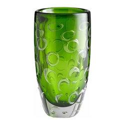 Emerald Green Rings Art Glass Vase - Large - *Large Brin Vase