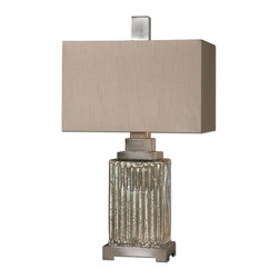 Uttermost - Uttermost Canino Mercury Glass Table Lamp 26289-1 - Ribbed mercury glass with brushed aluminum accents. The rectangle hardback shade is a silken bronze linen fabric with natural slubbing.