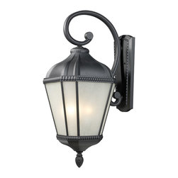 Z-Lite - Z-Lite 513B-BK Waverly 4 Light Outdoor Wall Lights in Black - For a bold outdoor fixture with a warm glow, look no further than this large wall mount. The pronounced arm holds a lantern made of white seedy glass panels, while the fixture is finished in a sleek black finish. This fixture is made of cast aluminum, and is made to withstand all seasons.