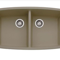 Blanco Performa Silgranit II Double Bowl Sink - What makes our double bowl design truly stand apart is its ability to withstand everything from scratches and chips to burns and stains. Plus, it comes in seven classic colors to complement your kitchen and your style. | Features: Available in 8 classic colors including our new Cinder. Drains NOT included. Bowl Depths: 10'' & 10''. Required outside cabinet: 36''. Cutout Size: Template provided with approximate 1/8'' reveal. 80% solid granite. Heat resistant up to 536°F. Unsurpassed cleanability backed by industry leading 7 patents! Resistant to scratches, stains and all household acids and alkali solutions. Limited lifetime warranty. Undermount clips are provided. | Available at ShopStudio41.com