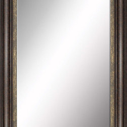 Paragon Decor - Beveled Mirror, Dark Wood with Gold Inlay, 24x36 - Mirror, Mirror, on the wall, who's the most beautiful mirror of them all? Reflect your impeccable taste with this traditional-style mirror, which features a gorgeous dark wood with gold inlay frame and high-quality interior beveled mirror. This piece measures 32 inches wide, 2 inches deep, and 44 inches high.