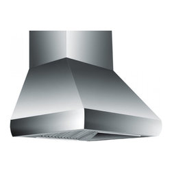 """Z Line Kitchen and Bath - ZL687-Wall Mounted Hood Range, 30"""", Standard Chimney for 9-9.5 Ft. Ceiling - The ZL687 Wall Range Hood offers high performance, with an attractive full profile beveled face.  This range hood comes complete with hood, standard chimney, mounting bracket, 8"""" transition piece to round ducting and hardware.  Available in sizes: 30"""", 36"""", 42"""", and 48""""."""