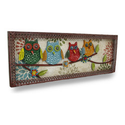 Zeckos - Colorful Perched Owls Decorative Metal Wall Sculpture Panel - This branch is in full bloom with colorful flowers and a bevy of brightly colored owls This decorative wall hanging features a row of stamped metal owls perched on a tree branch dotted with wildflowers, all framed in scalloped edges Artistically crafted from metal with a wooden backing, it's fraught with weathered details, and looks amazing in entryways, bedrooms, living rooms, porches or atriums Measuring 32 inches (81 cm) long, 11.75 inches (30 cm) high and 1.25 inches (3 cm) deep, it easily hangs using the two attached hangers on the back, and makes a wonderful gift any owl lover would be proud to display