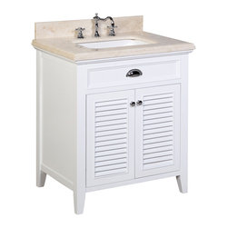 Kitchen Bath Collection - Savannah 30-in Bath Vanity (Crema Marfil/White) - This bathroom vanity set by Kitchen Bath Collection includes a white cabinet with self-closing doors, stunning Crema Marfil countertop with double-thick beveled edges,undermount ceramic sink, pop-up drain, and P-trap. Order now and we will include the pictured three-hole faucet and a matching backsplash as a free gift! All vanities come fully assembled by the manufacturer, with countertop & sink pre-installed.
