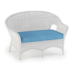 Forever Patio - Rockport Outdoor Wicker Loveseat, Air Blue Cushions - The Rockport Loveseat (SKU FP-ROC-LS-WH-AB) will enhance any patio space with its classic look and comfortable seating. Its UV-protected White wicker and round-weave design creates a cheery, traditional look that is made to last. This loveseat includes a fade- and mildew-resistant Sunbrella cushion; the industry's best outdoor fabric.