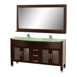 "Wyndham - Daytona 63"" Double Bathroom Vanity Set - Espresso/Green Glass - The Daytona 63"" Double Bathroom Vanity Set - a modern classic with elegant, contemporary lines. This beautiful centerpiece, made in solid, eco-friendly zero emissions wood, comes complete with mirror and choice of counter for any decor. From fully extending drawer glides and soft-close doors to the 3/4"" glass or marble counter, quality comes first, like all Wyndham Collection products. Doors are made with fully framed glass inserts, and back paneling is standard. Available in gorgeous contemporary Cherry or rich, warm Espresso (a true Espresso that's not almost black to cover inferior wood imperfections). Transform your bathroom into a talking point with this Wyndham Collection original design, only available in limited numbers. All counters are pre-drilled for single-hole faucets, but stone counters may have additional holes drilled on-site.;Features: Constructed of environmentally friendly, zero emissions solid Oak hardwood, engineered to prevent warping and last a lifetime;12-stage wood preparation, sanding, painting and finishing process;Minimal assembly required;Highly water-resistant low V.O.C. sealed finish;Available pre-drilled for single-hole ;Unique and striking contemporary design;Practical Floor-Standing Design;Deep doweled drawers;Fully extending side-mount drawer slides;Soft-close concealed door hinges;Single-hole faucet mount ;Metal hardware with brushed chrome finish;Plenty of storage space;Brushed steel leg accents;Plenty of counter space;Includes drain and P-traps for easy assembly;Includes matching mirror;4 doors, 3 drawers;Weight: 360 lbs.;Dimensions: Vanity - 63x 22x 33-1/2;Mirror - 63x 5 x 32"