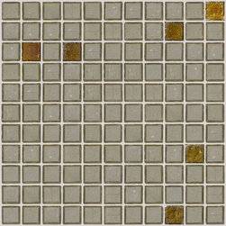 """Susan Jablon Mosaics - Sage Mix Glass Tile - This glass tile is a soft and subtle green gray transparent 1"""" handmade glass mosaic tiles with bronze iridescent accents. It is a perfect partner for your brown, gray, black or swirly grey green counter selection. It is an elegant and sophisticated choice.The sage transparent 1"""" glass tile with a touch of iridescence is a relaxing soft tone. With it's rustic edges it gives a wonderfully natural, organic feel anywhere it's used.These tiles complement any design goal . Use these tiles for your new or remodeled kitchen backsplash, bathroom or any wall in your home or business. It is very easy to install as it comes by the square foot on mesh and it is very easy to clean! About a decade ago, Susan Jablon re-ignited her life-long passion for mosaics and has built a customer-focused, artist-driven, business offering you the very best in glass and decorative tiles and mosaics. We are a glass tile store committed to excellence both personally and professionally. With lines of 100% SCS Qualified recycled tile, 12 colors and 6 shapes of mirror, semi precious turquoise stones from Arizona mines, to color changing dichroic glass. Stainless steel tiles in 8mm and 4mm and 12 designs within each, and anything you can dream of. Please note that the images shown are actual photographs of the tiles however, colors may vary due to the calibration of each individual monitor. Ordering samples of the tiles to verify color is strongly recommended."""