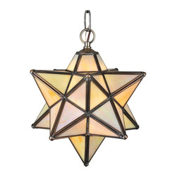 "Meyda Tiffany - Meyda Tiffany Moravian Star 9"" Modern / Contemporary Outdoor Pendant Light X-321 - As told by ancient folklore, the Moravia star was used to protect homes and bring luck to families. The Meyda Tiffany Moravian Star 9"" Modern / Contemporary Outdoor Pendant Light is an intricate geometrical design, sure to delight family and guests alike! The beautiful light fixture features iridescent art glass panels handsomely framed in a warm Mahogany Bronze hand applied finish."